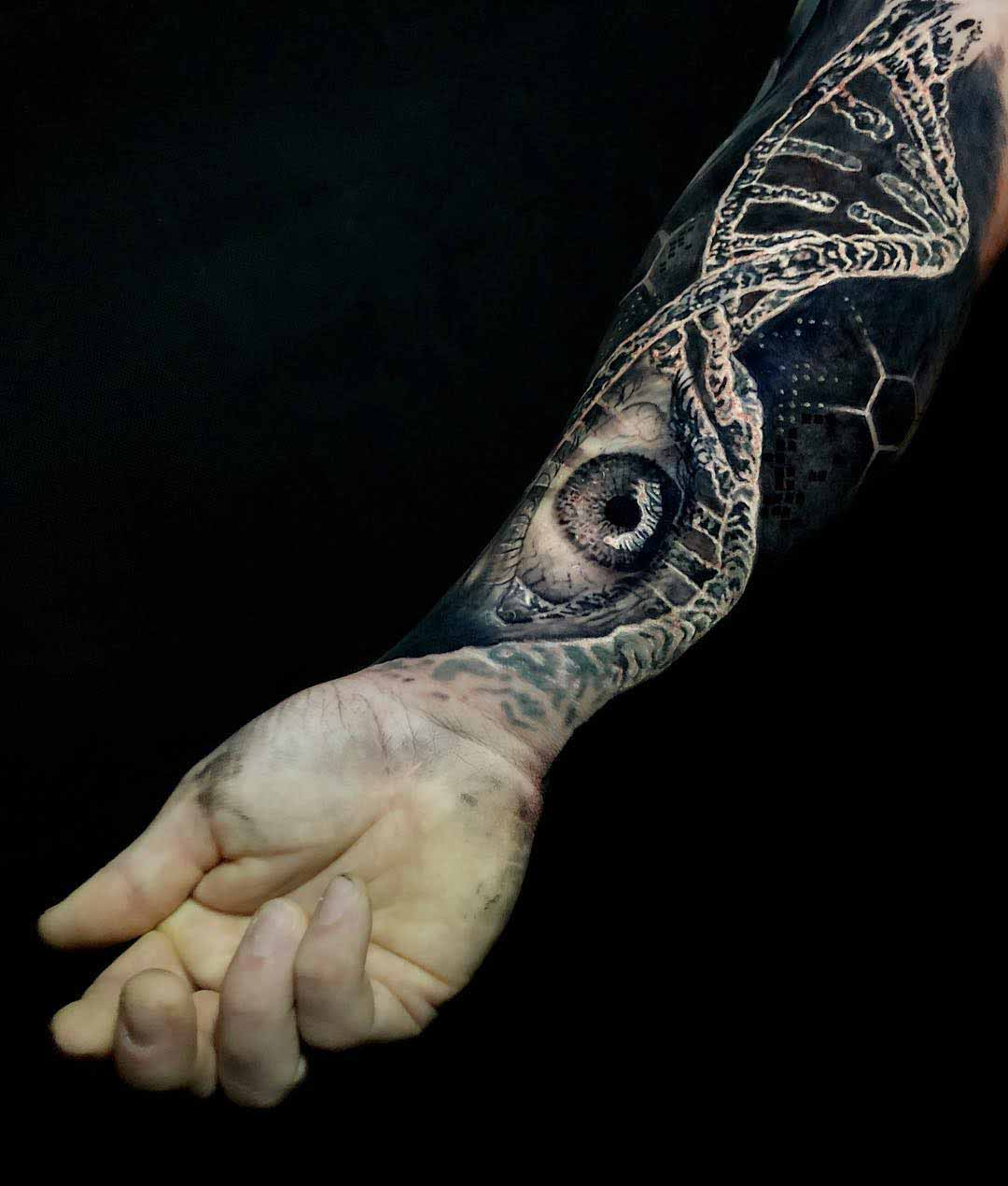 arm tattoo DNA eye