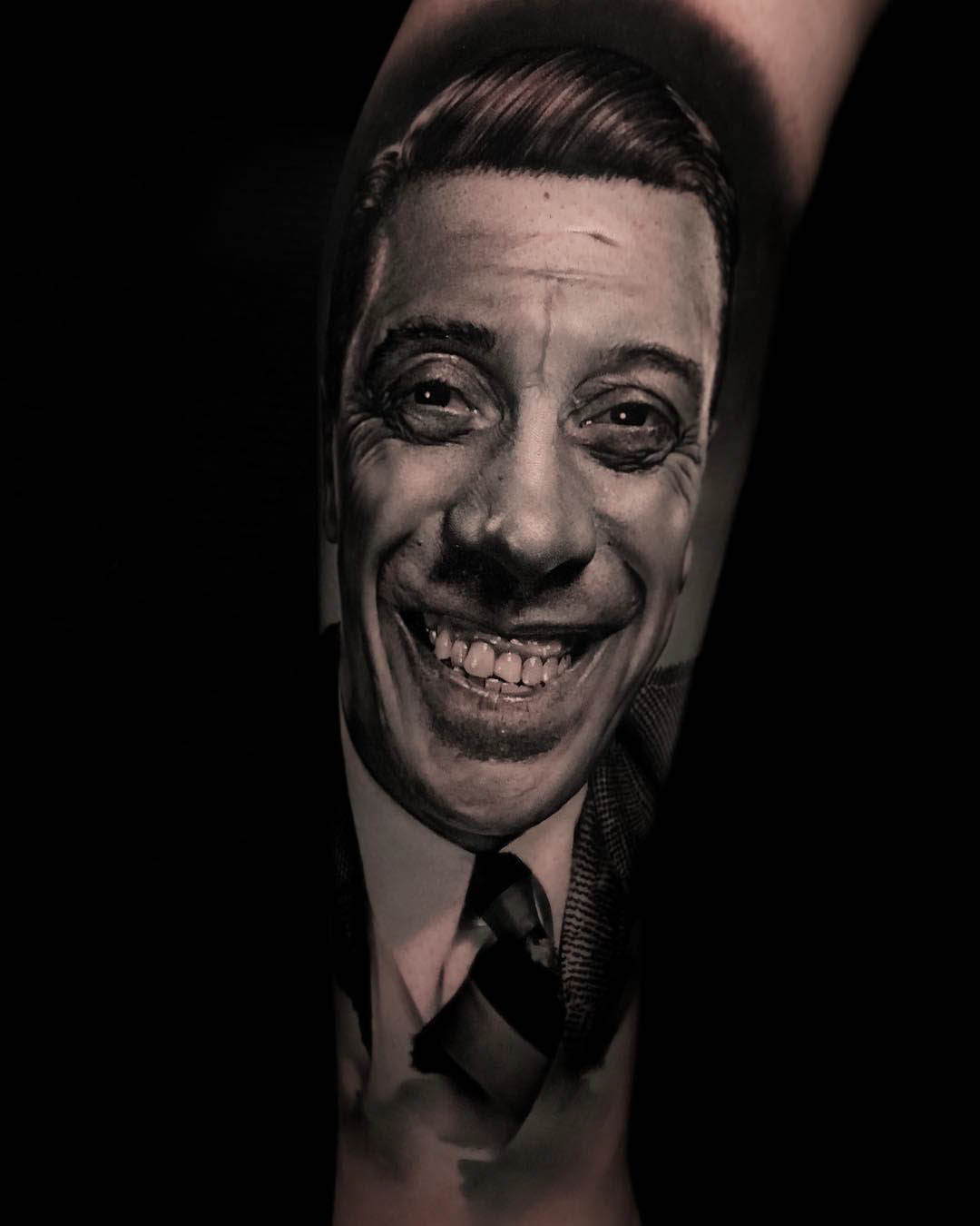 french actor portrait tattoo