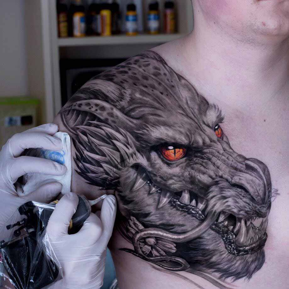 dragon tattoo on shoulder front