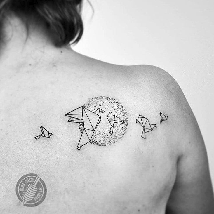 shoulder blade tattoo origami