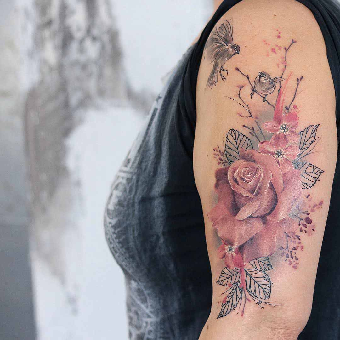 rose tattoo pink soft