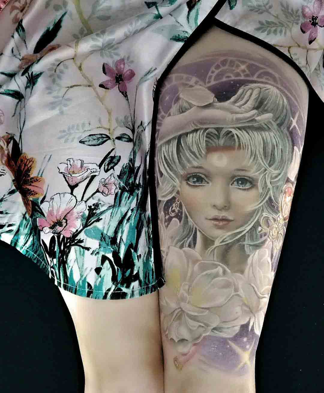 sailormoon tattoo on thigh