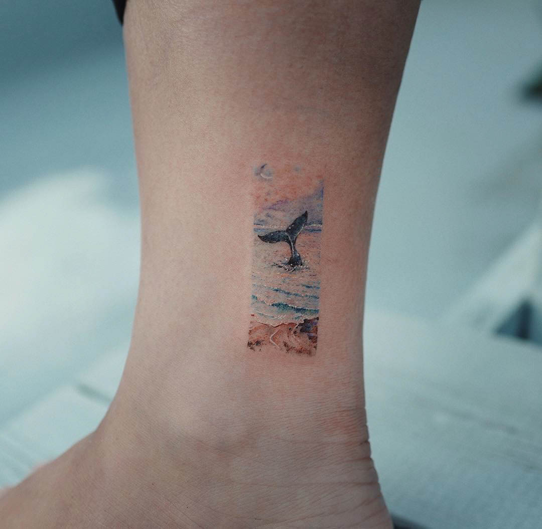 ankle tattoo whale tail