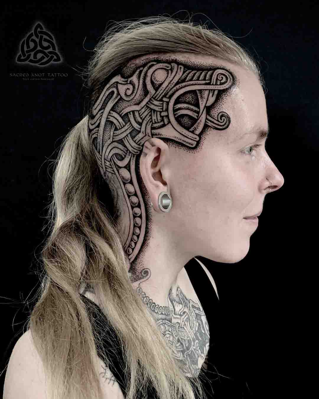 head tattoo celtic knot