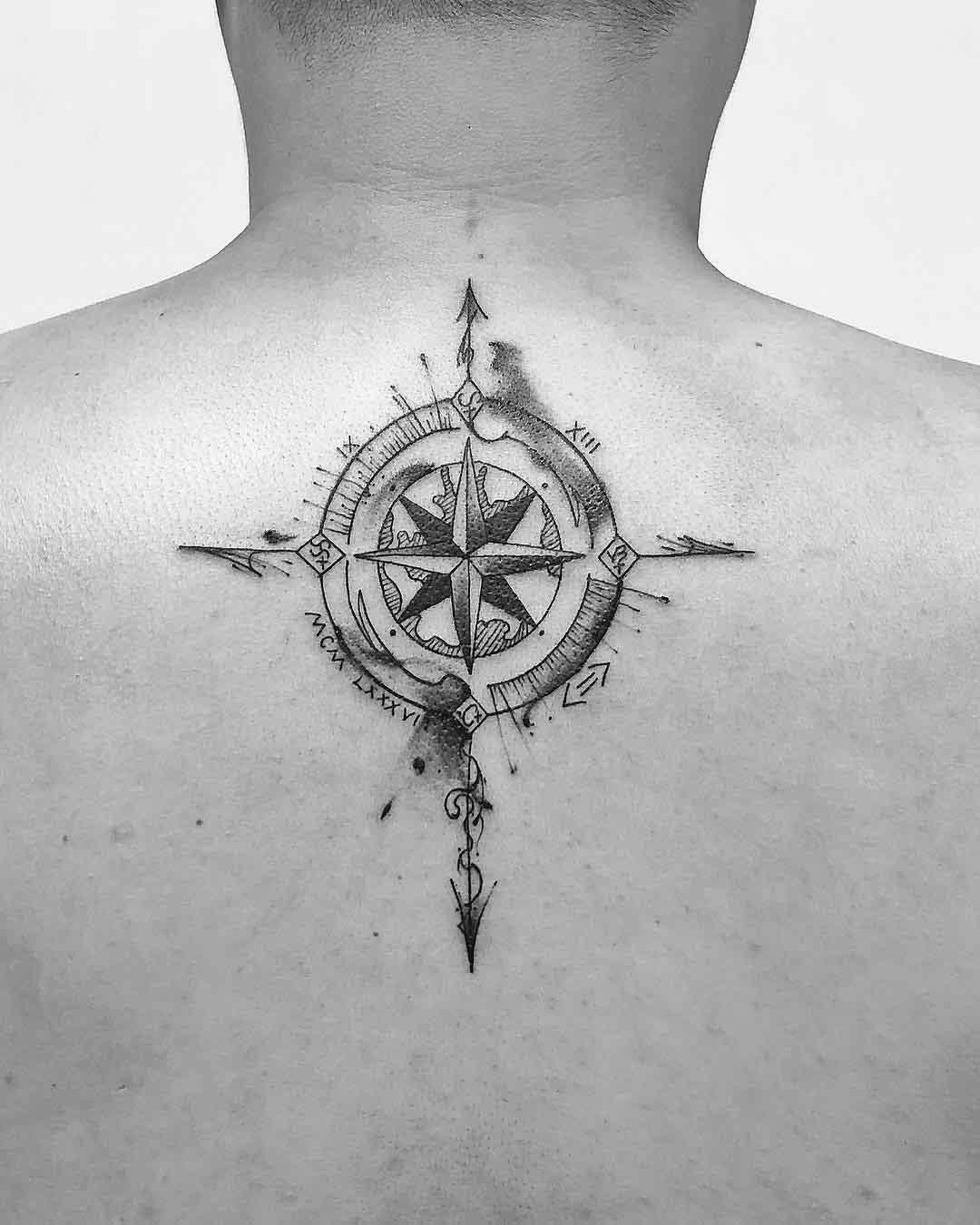 upper back tattoo compass
