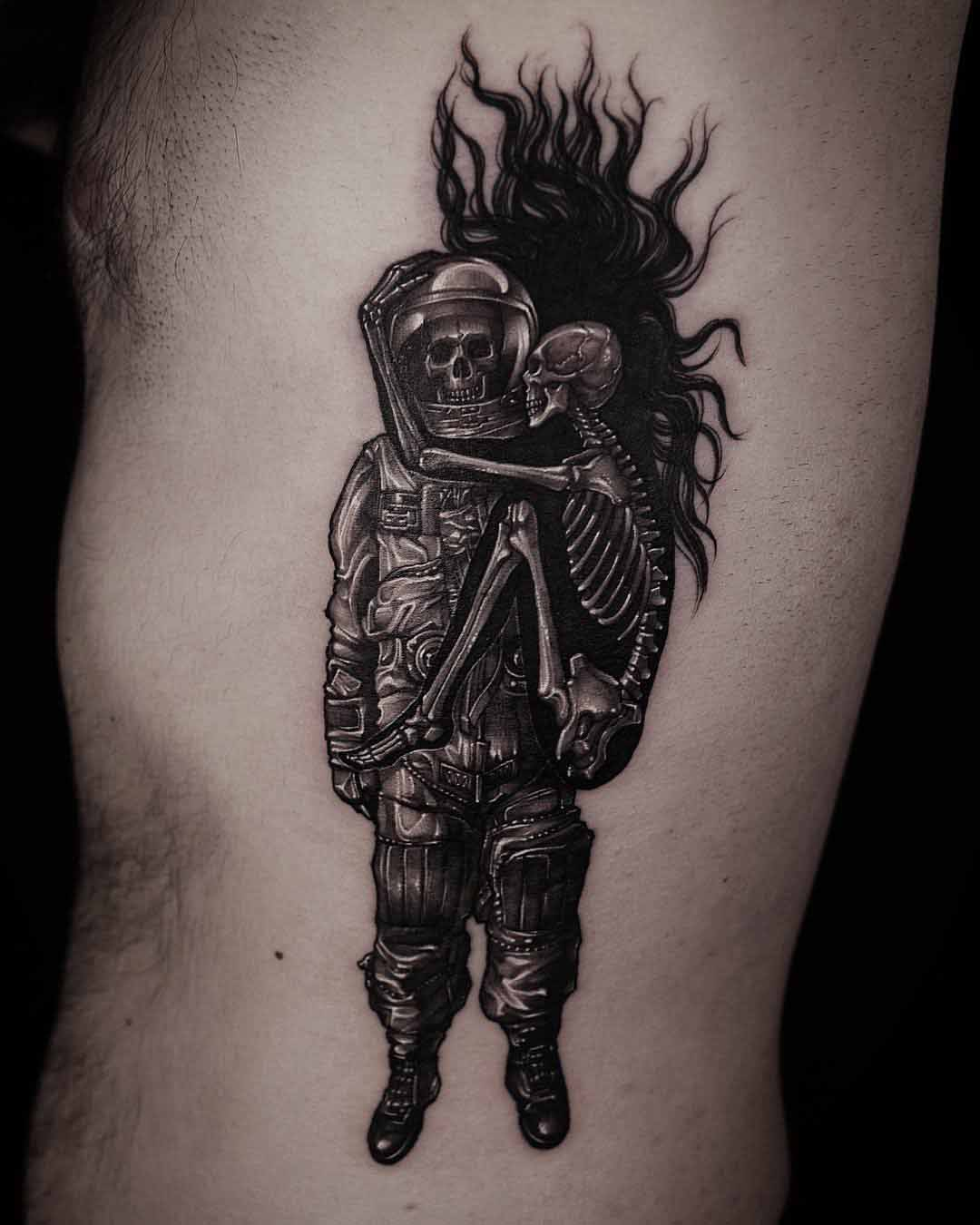 skeletons tattoo astronaut and hug