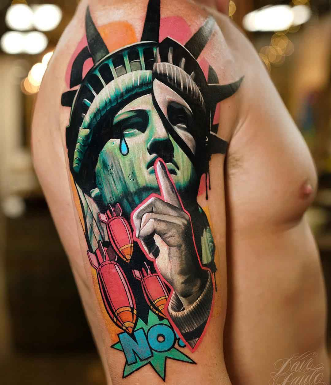 shoulder tattoo statue of liberty no war