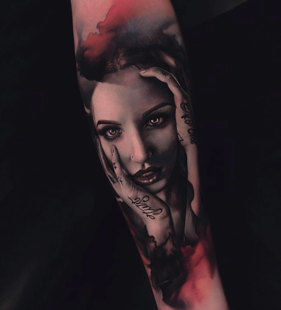 realistic tattoo portrait girl