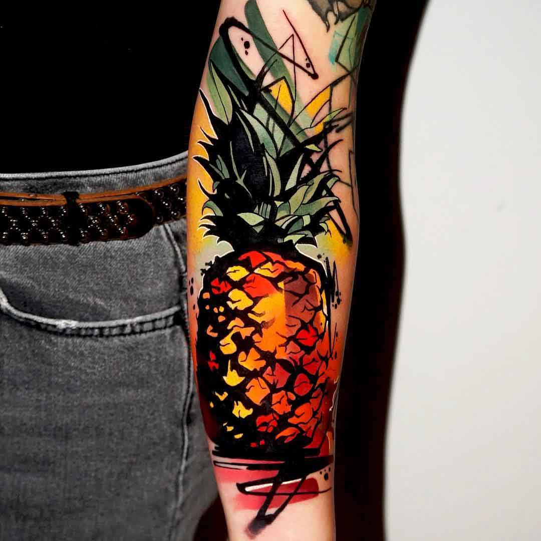arm tattoo pineaple