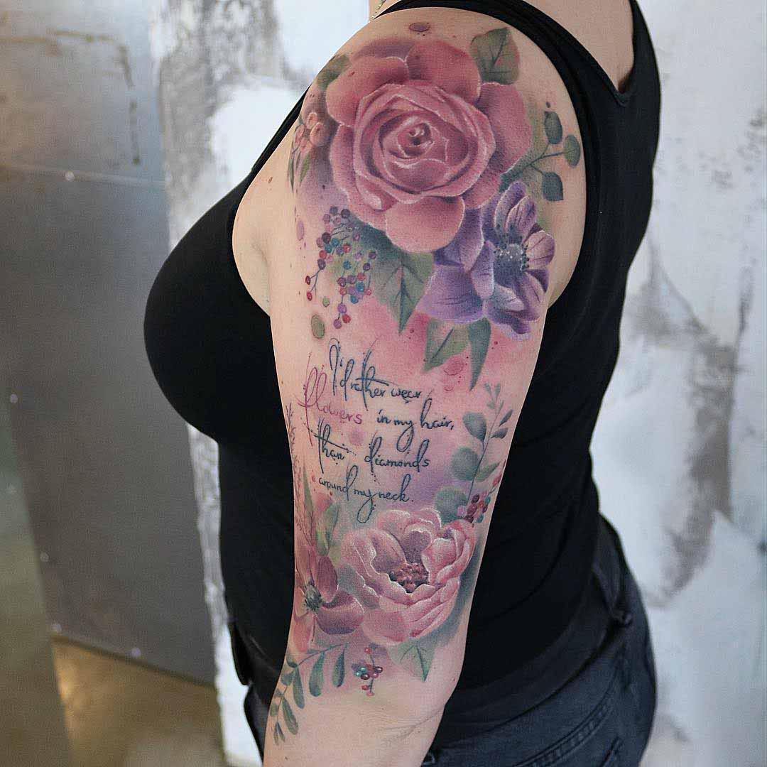 flowers tattoo on shoulder