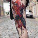 Spiderman Tattoo on Thigh