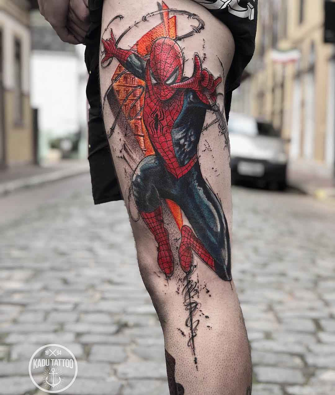 thigh tattoo spiderman