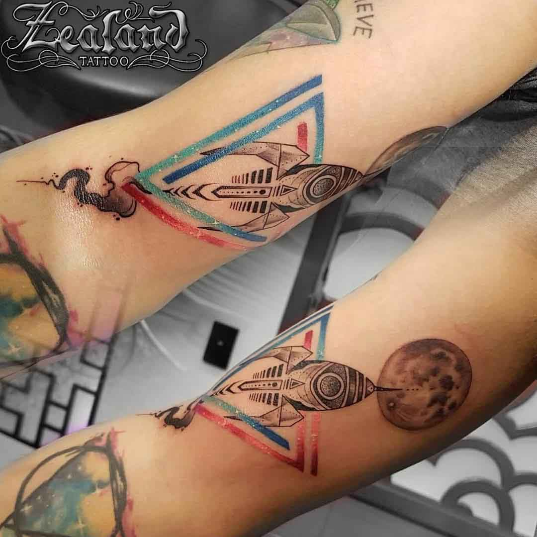 rocket ship tattoo vintage