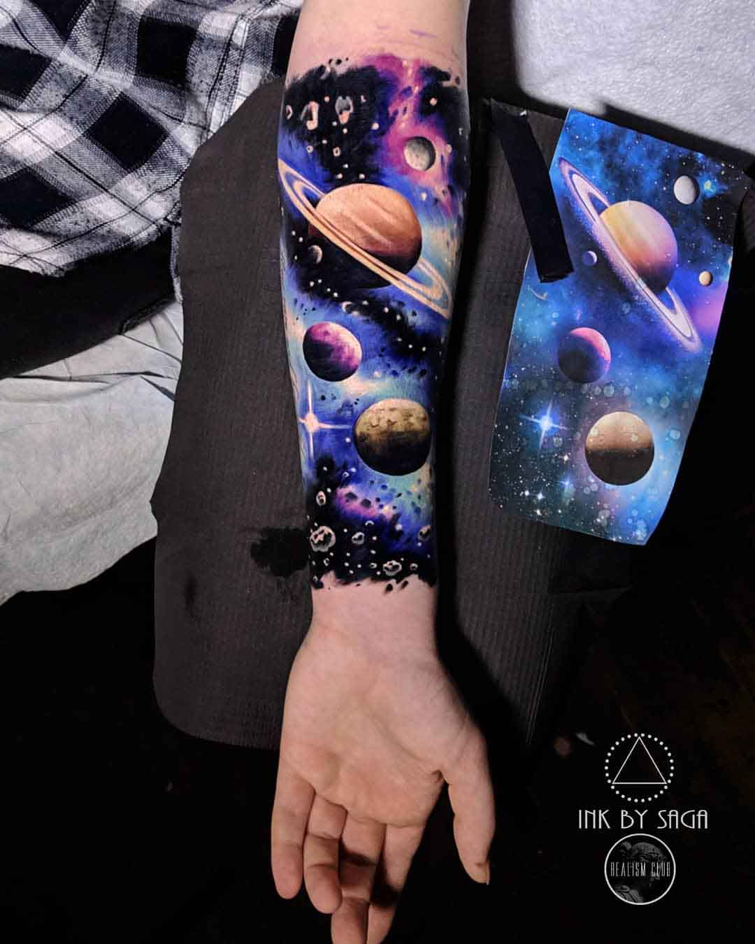 arm tattoo space planets