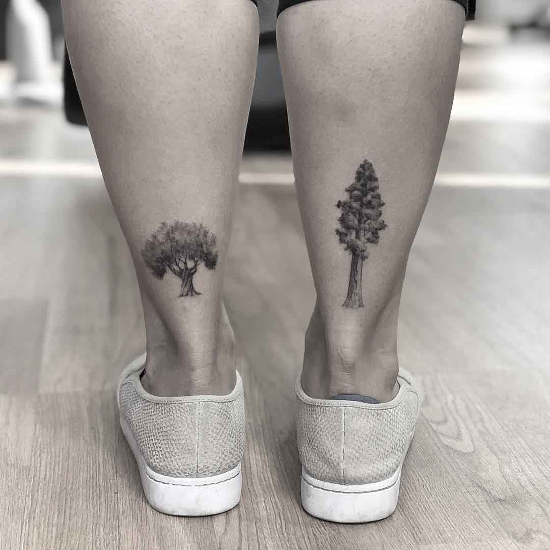 ankle tattoos of trees